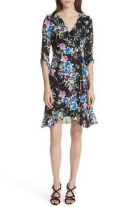NEW-MILLY-Audrey-Floral-Silk-Wrap-Dress-in-Black-Multi-Size-10