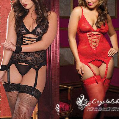 Plus Size Lingerie Sexy Women Lace Corset Dress+Handcuff+Thongs Teddies M-XXXL