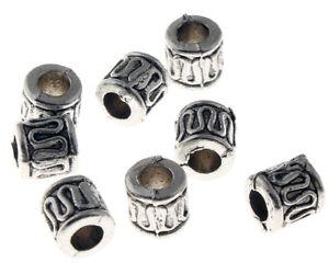 25-Metallperlen-Spacer-6mm-Antik-Silber-Roehre-Schmuckherstellung-DIY-BEST-M59C