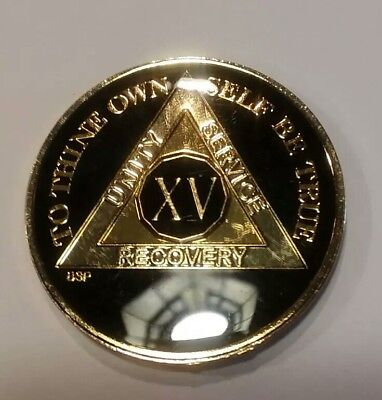 """1 Year AA Coin BLACK Enamel Gold Nickel 1⅜/"""" Traditional Size Recovery"""