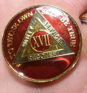 17-Year-AA-Sobriety-Coin-Medallion-Rich-Mandarin-Red-Enamel-17th-Year-Chip-XVII