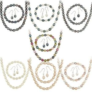 .925 Silver Cultured Freshwater Pearl 3 Piece Set - 7 Colors