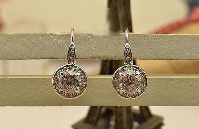 18K White Gold GP Austrian Crystal Fashion Jewelry Studs Ear Earrings BR870