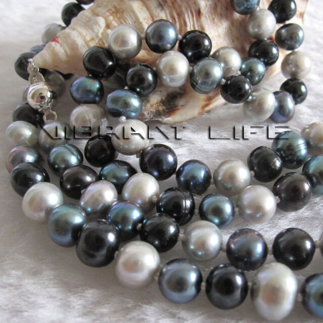 """34"""" 6-8mm Multi Color Freshwater Pearl Necklace Gray Peacock Black Jewelry"""
