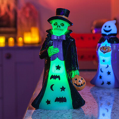 Battery Operated Colour Changing LED Wax Halloween Skeleton Party Decoration