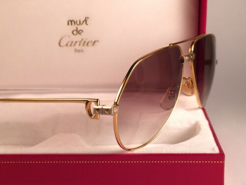 e7899bee624 NEW VINTAGE CARTIER SANTOS SCREWS 56MM SUNGLASSES FRANCE 18K HEAVY PLATED