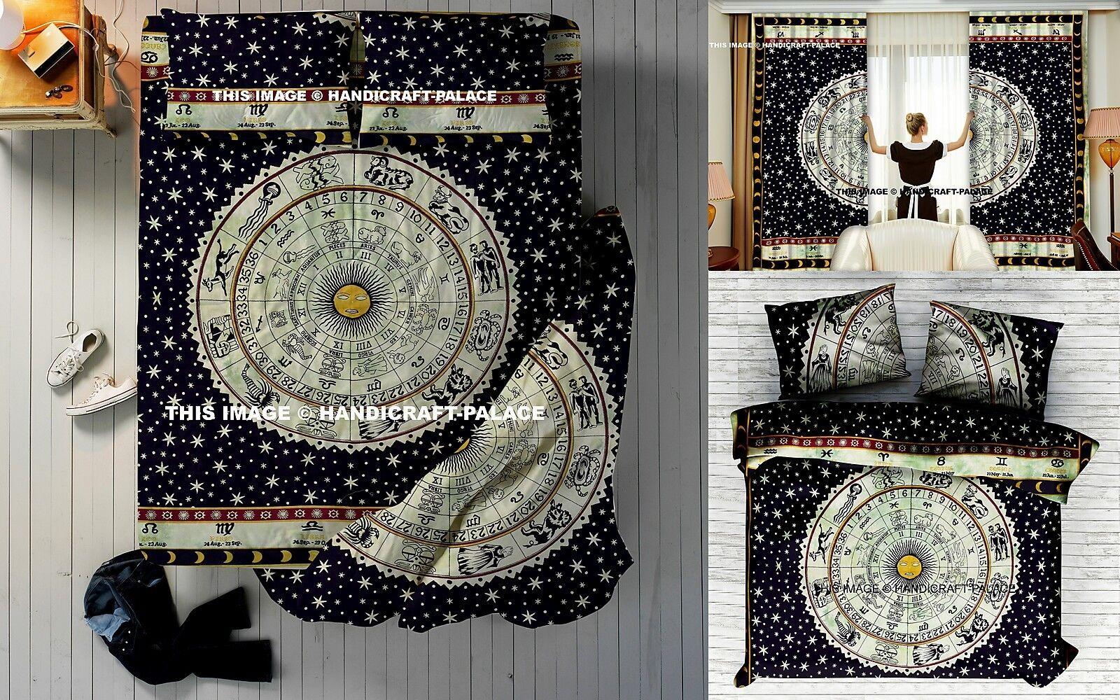 5 PCs Indian Queen Zodiac Duvet Doona Cover Set + Curtains + Bedspread + Pillows