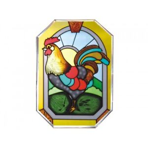 Stain Glass Chicken Rooster Hanging Window Panel Farmhouse Country Kitchen