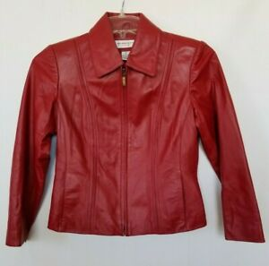 Preston-And-York-Petite-Red-Lamb-Skin-Leather-Jacket-Zip-Pockets-Lined-PP-0-2