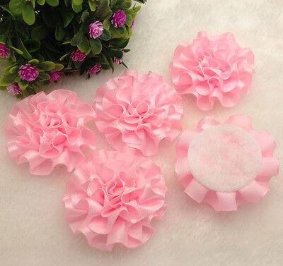 NEW 5pcs pink satin ribbon big Peony Flower Appliques/craft/Wedding decoration