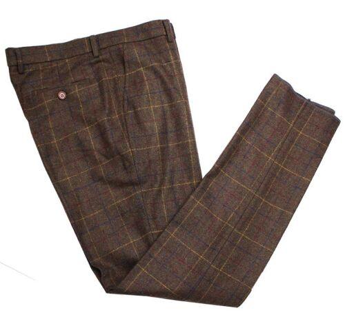 Mens Premium Wool Blend Tweed Trousers Check Plaid Brown Suit Pant Separate Pant