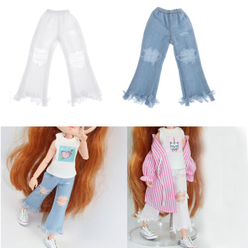 Handmade Doll Ripped Jeans Pants for Blythe Dolls DIY Dress-up Accessory