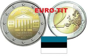 2 € Estonie 1 X Piece Commemorative Universite De Tartu 2019 Nouveau
