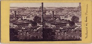 Florence Firenze Panorama Italia Foto Stereo Vintage Albumina Ca 1865