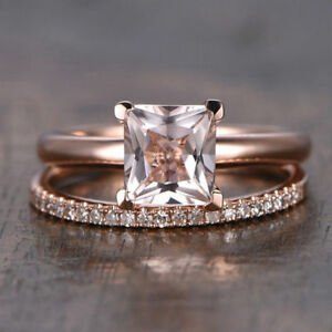 1Ct-Princess-Cut-Peach-Morganite-Bridal-Wedding-Ring-Set-14K-Rose-Gold-Finish