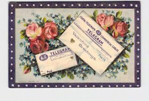ANTIQUE-POSTCARD-VALENTINE-J-BAUMANN-TELEGRAMS-ON-ROSES-VIOLETS-EMBOSSED