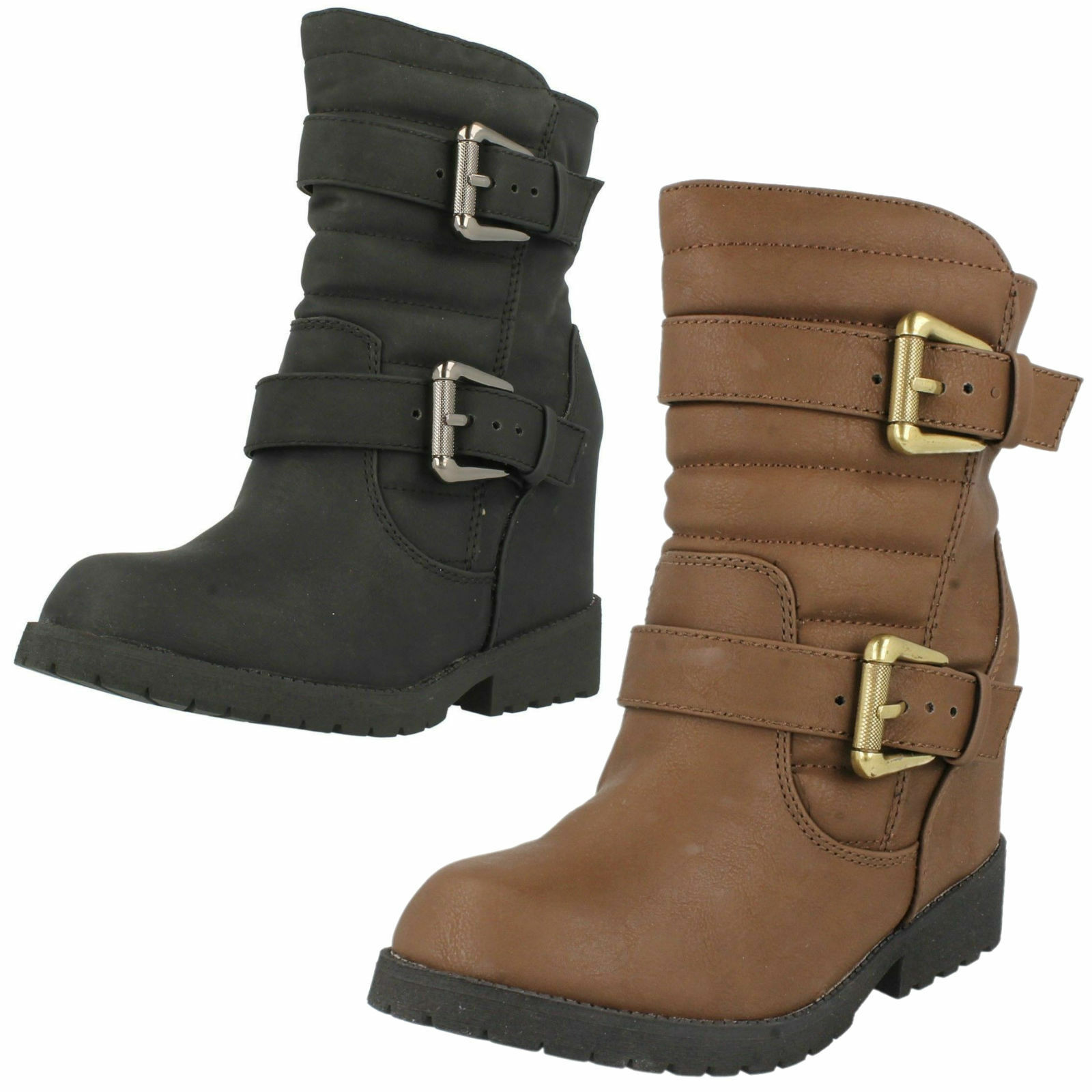 *SALE* LADIES SPOT ON BROWN & BLACK HIDDEN WEDGE BOOTS WITH BUCKLE DETAIL F50333