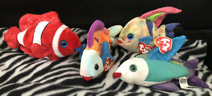 Ty Original Beanie Babies Fish Set 4 Jester Lips Aruba Propeller Clown Rainbow