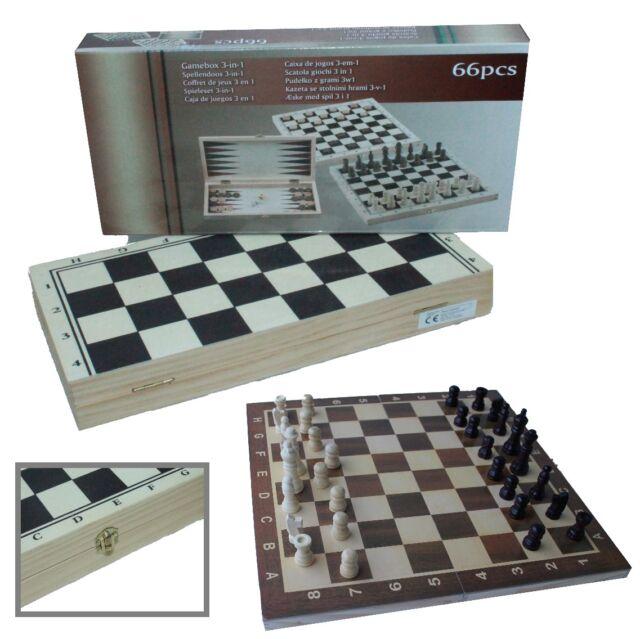3 in 1 Schach Dame Backgammon Schachspiel inkl. Spielfiguren Holz Spielbrett