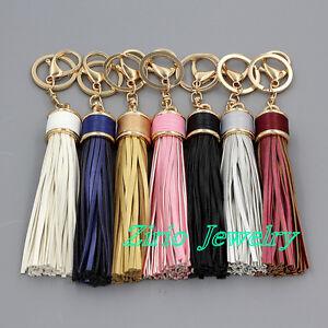 Genuine Leather Tassel Pendant Keyring Bag Purse Key Chain Handbag Accessories