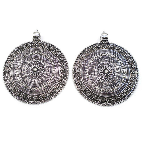 2 Antique Silver Large Boho Round Flower Pendants for Necklace Jewellery Making