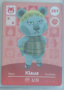 Animal Crossing New Amiibo Card 257 Klaus Grunerto Series ...