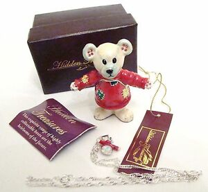 Jeweled Trinket Hinged Box - Teddy Bear in Holiday Sweater w/ matching necklace