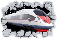 Huge 3D Tube Train Crashing through wall View Wall Sticker Mural Decal Film 76