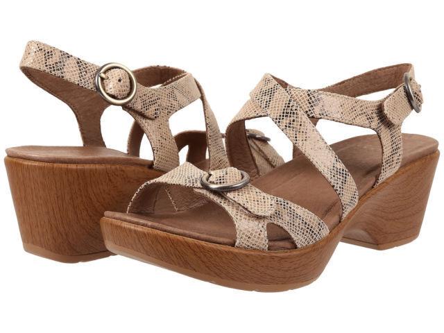 Dansko Julie Sandal, Taupe Snake Leather, Leather, Leather, donna Dimensione 40 (9.5-10),  130 5c2b8e