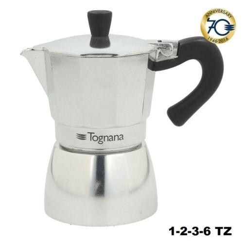 CAFFETTIERA MOKA MACCHINETTA DA CAFFE/' IN ALLUMINIO MIRROR 1-2-3-6 TZ TOGNANA
