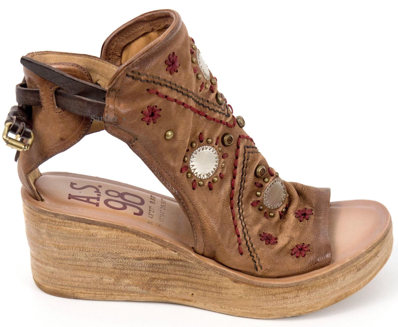 AIRSTEP A.S.98 Italy Sandalette 42 LEDER Schuh Cognac Braun Keil Plateau Top Neu