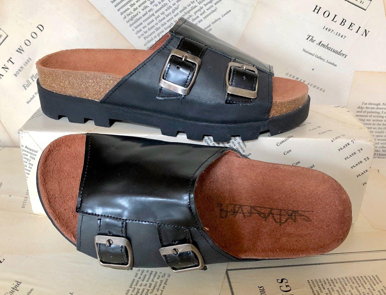 Nueva Nueva Nueva Plataforma De Cuero Negro el sesenta y siete 2 Hebilla Sandalia 36 5 - 5.5  moda clasica