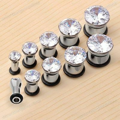 2pcs Stainless Steel CZ Cubic Zirconia Ear Flared Tunnel Plug Stretcher Expander