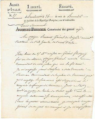 ARMEE d'ITALIE 1799 / Lettre au général Bardenet
