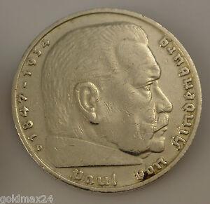 Drittes-Reich-5-Reichsmark-Silbermuenze-1935-D-Paul-von-Hindenburg