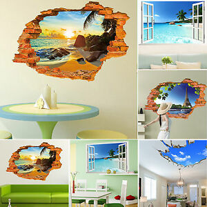 3d effect window view wall stickers broken art mural decal for Broken glass mural