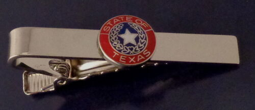 """Texas State Seal Red /& Silver Tie Bar TX 1//2/"""" state seal police//fire//sheriff//EMS"""