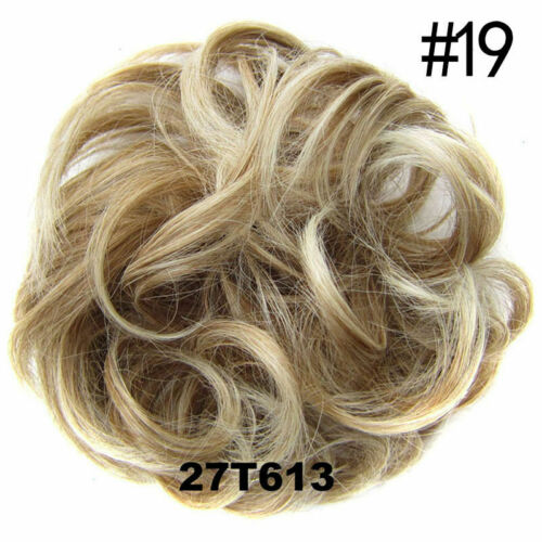Hair Extensions Wavy Curly Synthetic Hair Bun Wig Hairpiece Clip in Scrunch A7N2