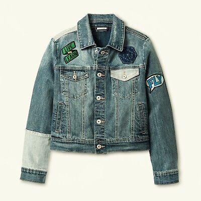Cat /& Jack Boys/' Patched Blue Medium Wash Jean Denim Jacket Size 6-7 Small