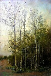 FOREST-AT-TWILIGHT-OIL-ON-TABLEX-URGELL-CIRCLE-SPAIN-END-XIX-CENTURY