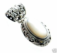 Solid 925 Sterling Silver Antique Style Oval Mother of Pearl Filigree Pendant '