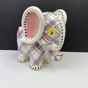 Vintage Ceramic NAPCO Purple Red Plaid Elephant Baby Planter S676/L Foil Label