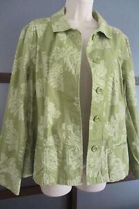 Chicos-Jacket-Sz-2-Green-Tropical-Leaf-Cotton-Blend-Stretch-NWT-L-12-14