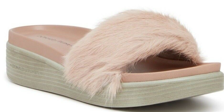 NIB Donald Genuine Pliner Furfi Genuine Donald Rabbit Fur Platform Wedge Slide Sandal Blush 7 e04a61
