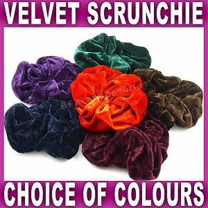Large-VELVET-Hair-SCRUNCHIE-15cm-elastic-navy-green-brown-red-purple-burgundy