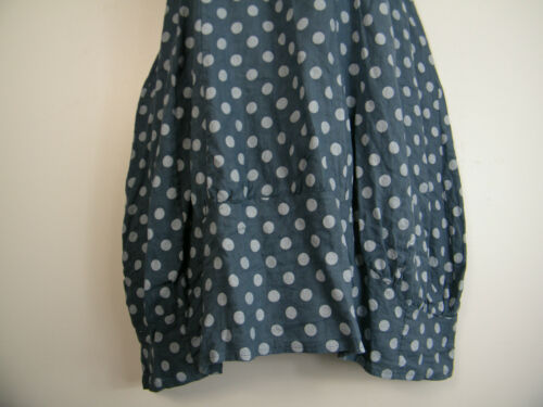 100/% LINEN SPOTTY LAGENLOOK DRESS WITH FRONT POCKETS 16 COLOURS ONE-SIZE 12-16