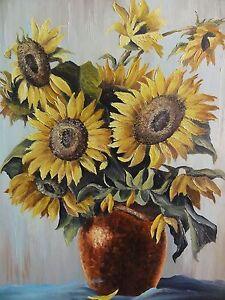stricker signiert gem lde sommer blumenstrauss mit vase sonnenblumen ebay. Black Bedroom Furniture Sets. Home Design Ideas