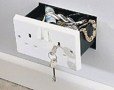 Imitation Double Plug Socket Wall Safe Security Stash Box lockable with 2 Keys