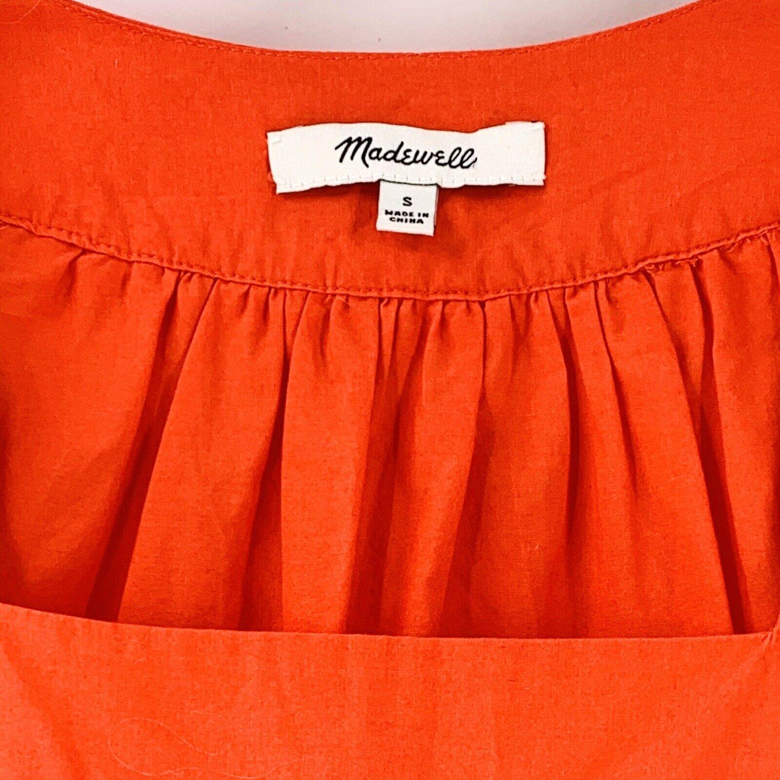 Madewell Orange Cotton Eyelet Angelica Top Size S… - image 5