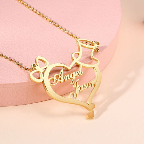 Personalized DIY 2 Names Women Necklace Chain Heart Pendant Couple Lover Gift